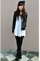 black boots - white dress - black leather jacket - black beanie hair accessory