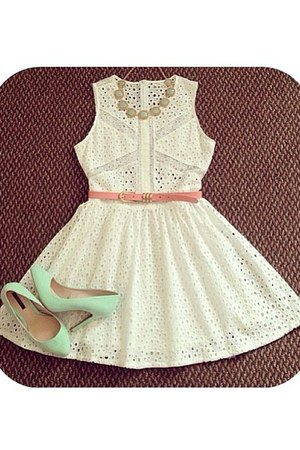white dress - aquamarine heels
