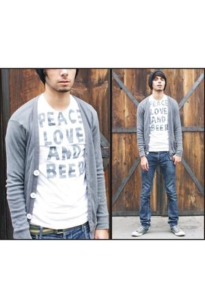 silver American Apparel cardigan - white American Eagle shirt - gray Converse sh