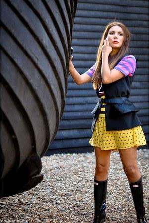 Hunter boots - waistcoat Zara jacket - asos shirt - peplum asos belt