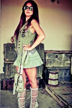 dark khaki mini Topshop skirt - heather gray River Island boots