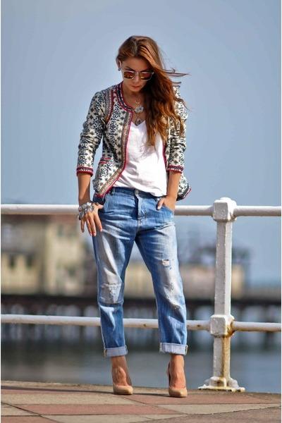 boyfriend Zara jeans - Monsoon jacket - Zara t-shirt - nude H&M wedges