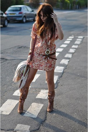 patrick cox boots - print Forever 21 dress - Miss Selfridge necklace