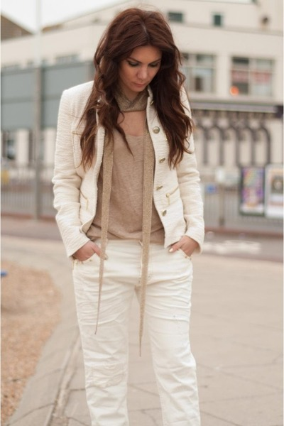off white boyfriend Zara jeans - ivory blazer Zara jacket
