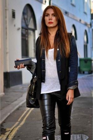 denim jacket Zara jacket - Hunter boots - leggings - Zara t-shirt