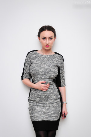heather gray Mizar dress - black Mizar purse