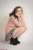 black Urban Outfitters boots - pink Forever 21 sweater - navy Forever 21 shirt