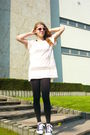 Pink-h-m-t-shirt-black-h-m-leggings-blue-tesco-shoes-silver-pull-bear-neck
