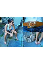 tawny Michael Kors belt - gold Kathy van Zeeland purse - blue denim shorts