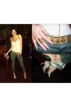 gold clutch Alfani purse - gold calvin klein belt - olive green cargo pants - go