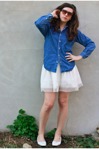 blue ralph lauren thrifted vintage blouse - white Urban Outfitters skirt - white