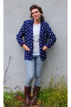 blue vintage blazer - blue madewell jeans - brown vintage boots - white blouse