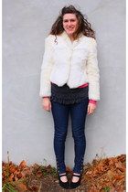 white thrifted vintage jacket - hot pink Jcrew cardigan - charcoal gray Jcrew bl