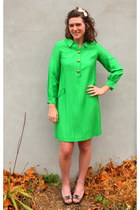 chartreuse thrifted vintage dress - cream Jcrew accessories