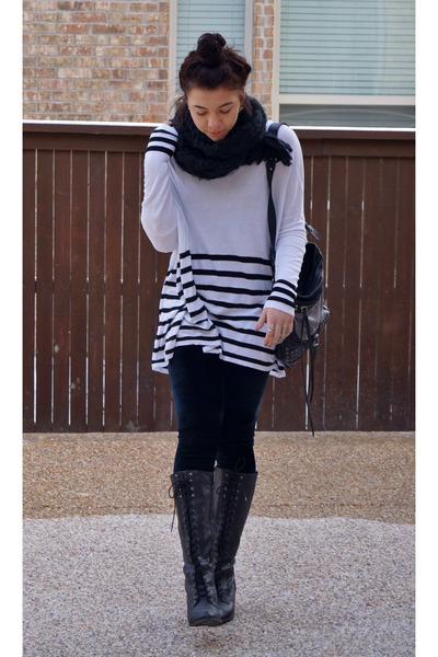 H&M sweater - UrbanOG boots - kohls leggings - Forever 21 scarf