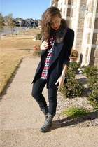 moms blazer - moms scarf - f21 shirt - UrbanOG boots