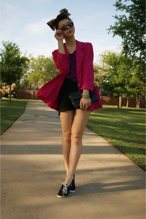 thrifted blazer - Keds shoes - Forever21 scarf - thrifted shorts