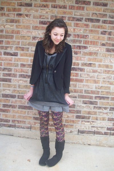 f21 tights - f21 dress - f21 blazer