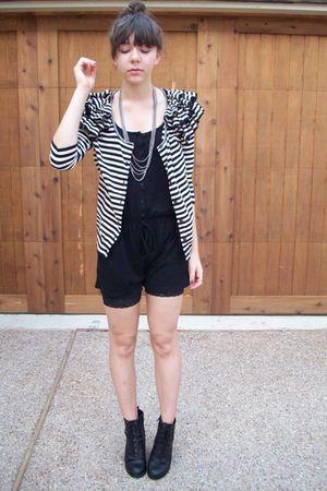 UrbanOG shoes - lace biker shorts kohls - romper charolette russe - H&M cardigan