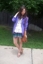 moms blazer - f21 skirt - crochet vest papaya - f21 purse