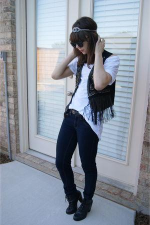 f21 vest - UrbanOG shoes - headband claires