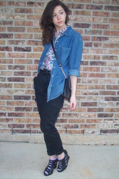 urban original shoes - H&M shirt - denim shirt - thrifted purse - f21 pants
