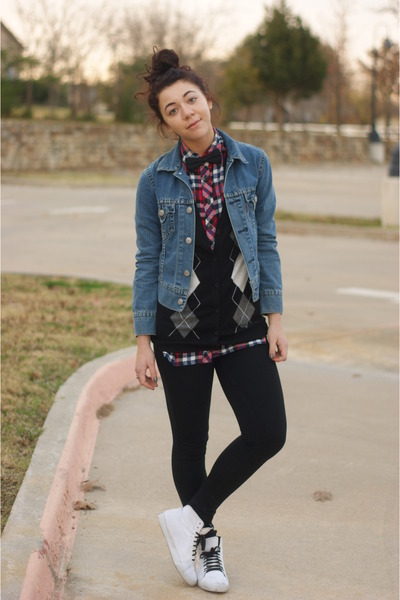 Forever21 shirt - Levis jacket - Forever21 cardigan - supra sneakers