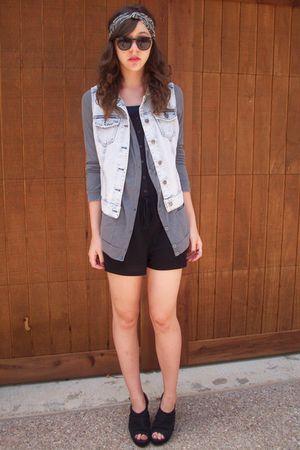f21 vest - romper f21 - headband claires - UrbanOG shoes