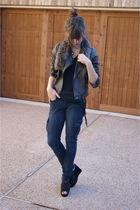 Forever21 jacket - TJMaxx jeans - UrbanOG shoes - moms scarf