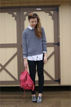 thrifted sweater - Forever 21 shoes - Marshalls bag - Forever 21 top