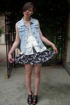 lace vest - denim vest - skirt