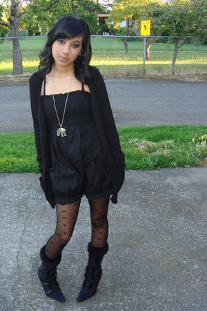 black Wet Seal cardigan - black jumper - black stockings - black boots - silver