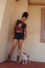 Boots-forever-21-shorts-diy-fringe-t-shirt