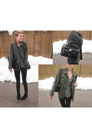 army green Topshop jacket - black Topshop boots - dark grey Topshop shirt