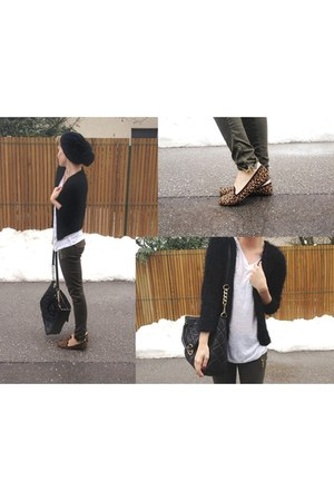 leopard print Topshop loafers - black H&M hat - white H&M shirt