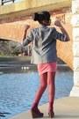 Gray-forever21-blazer-magenta-wet-seal-shirt-coral-forever-21-skirt