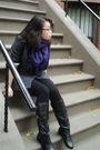 Purple-none-scarf-gray-ellison-blazer-black-forever-21-leggings-black-geor