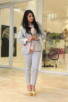 casual cotton on blazer - tailored Woolworths pants - colour block spot on heels
