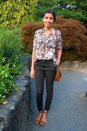floral Club Monaco shirt - black H&M jeans - brown Zara flats