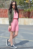 bubble gum Love on a Hanger dress - army green Forever 21 jacket