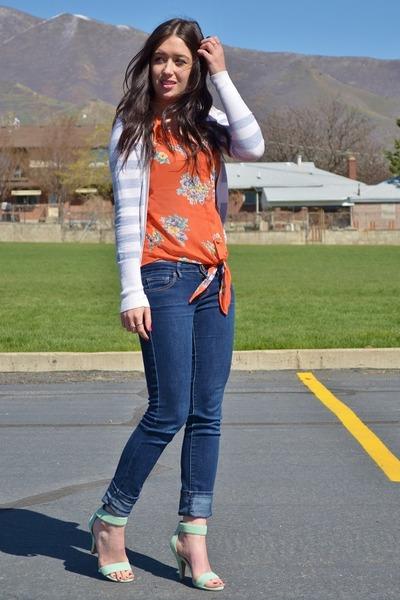 carrot orange Bellatrix top - aquamarine Jeffrey Campbell heels