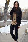 Light-brown-sparkle-express-top-black-fur-forever21-jacket