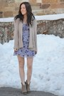 Light-brown-steve-madden-boots-light-purple-forever21-dress