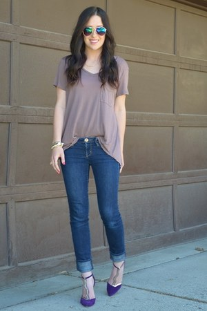 tan 14 & Union shirt - deep purple modcloth heels