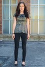 Camel-forever21-top-black-jessica-simpson-pants