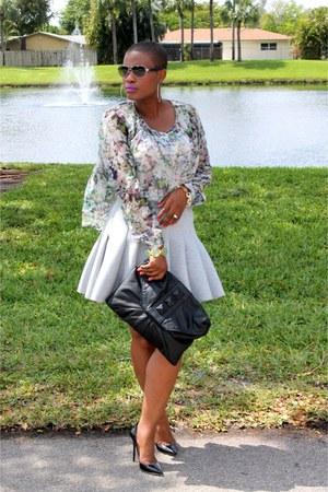 silver scuba H&M skirt