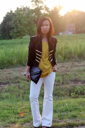 mustard apostrophe blouse