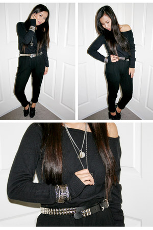 black Charlotte Russe pants - black sweater - silver necklace