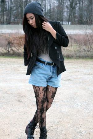 black DKNY tights - blue DIY shorts