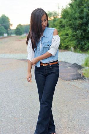 blue Wrangler jeans - blue vintage vest